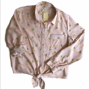 NEW Love Notes Front Tie Blouse Pink w/ Pineapples